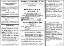 """Brodifacoum-25 Conservation"" safety information l"